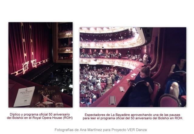 Fotografía del programa del 50 aniversario del Bolshoi en Royal Opera House en agosto 2013 el día de la representación de La Bayadère. En la segunda foto se muestra el público en el intervalo. Algunas personas están leyendo el programa oficial.