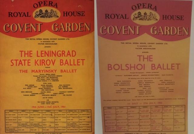 Posters publicitarios del Kirov en 1961 y del Bolshoi en 1963 en el ROH.