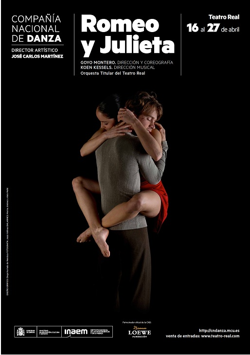 """Cartel de """"Romeo y Julieta"""" de Goyo Montero con la de la Compañía Nacional de Danza (CND) en el Teatro Real de Madrid en abril del 2013"""