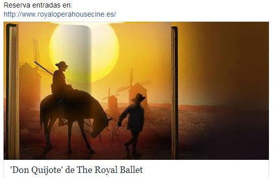 Miércoles 16 de octubre del 2013, 20.15, en cines de toda España el nuevo 'Don Quijote' de The Royal Ballet coreografiado por Carlos Acosta. Reserva entradas en: http://www.royaloperahousecine.es/