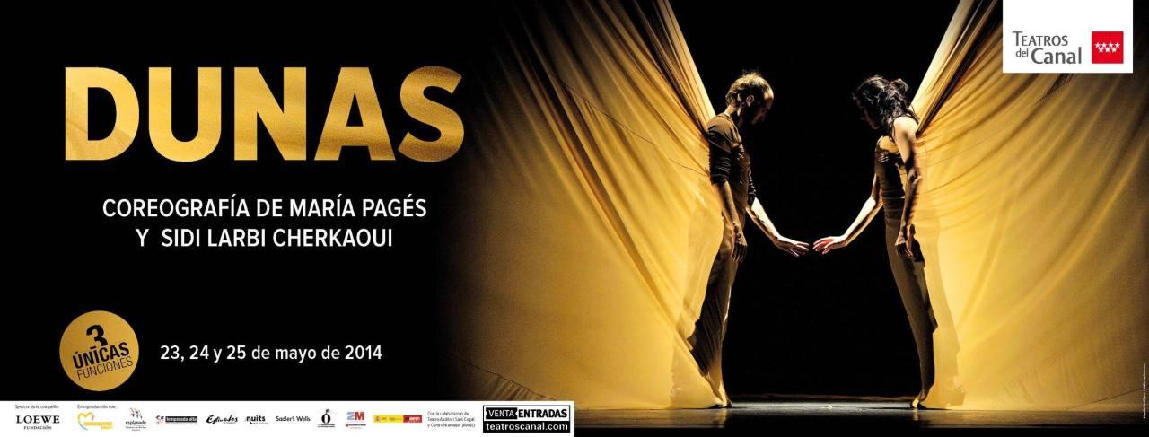 Un grupito de 5 vamos a ver DUNAS de María Pagés y Sidi Larbi Cherkaoui en Teatros del Canal en Madrid este fin desemana