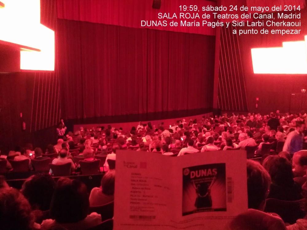 Dicho y hecho, un grupo de 5 vimos DUNAS de María Pagés y Sidi Larbi Cherkaoui en un Teatros del Canal lleno mientras en Lisboa había una final   ;-)