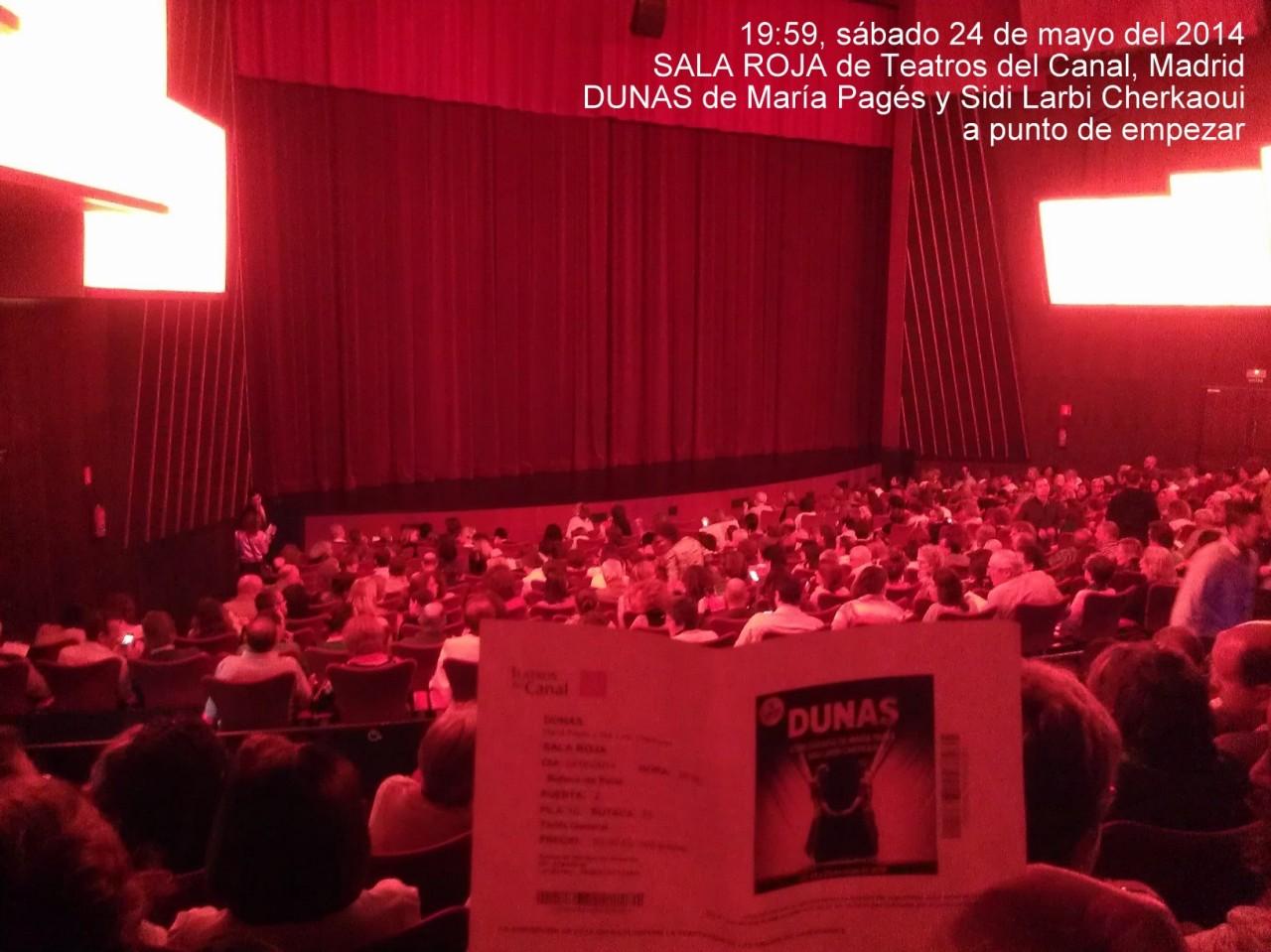 Dicho y hecho, un grupo de 5 vimos DUNAS de María Pagés y Sidi Larbi Cherkaoui en un Teatros del Canal lleno mientras en Lisboa había una final;-)