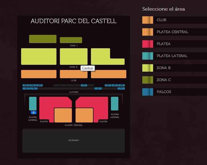 Plano gradas FESTIVAL CASTELL PERALADA