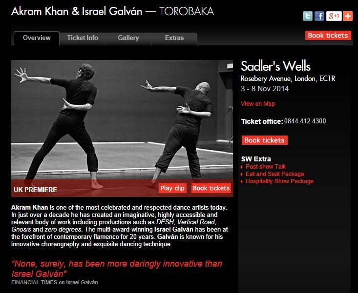 Venta de entradas on-line de TOROBAKA en SADLER'S WELLS Londres del 3 al 8 de noviembre del 2014