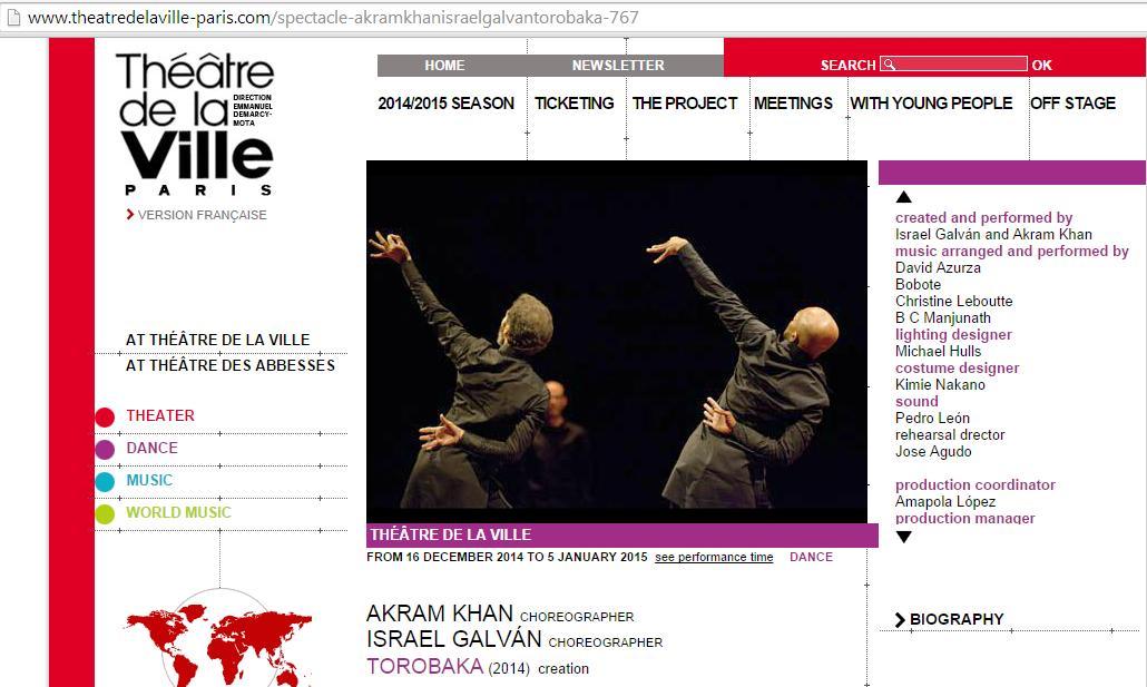 Del 16 de diciembre al 15 de enero TOROBAKA en Théâtre de la Ville en París. Entradas on-line