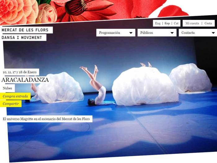Captura para el blog Proyecto VER Danza de la pantalla de la web del Mercat de les Flors de NUBES de ARACALADANZA que presenta su trilogía en el 2015