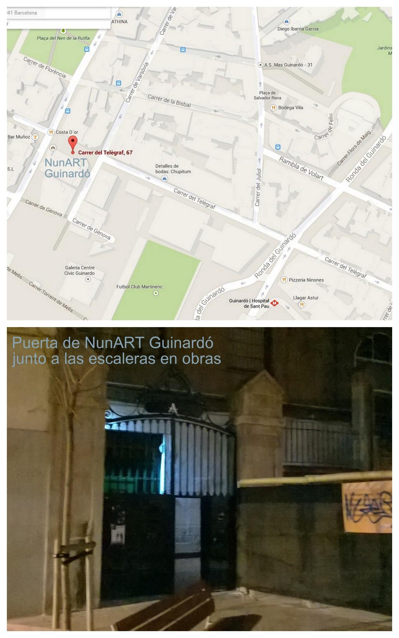 Mapa para llegar a NunART Guinardó, y fotografía de la puerta de acceso, junto a las obras.