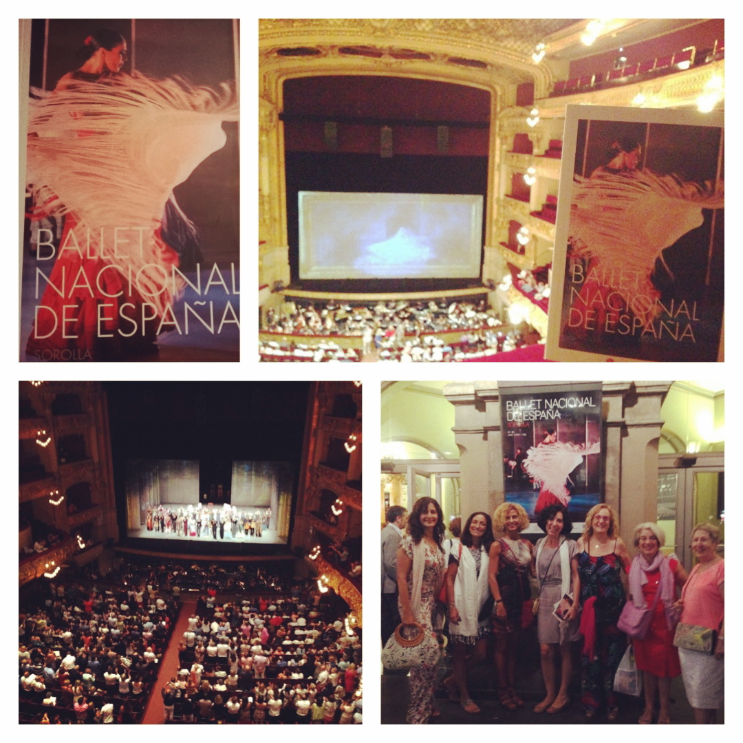 Collage con foto de la cubierta del programa de SOROLLA del BNE, nuestras vistas desde el 3er piso, ovación con el público en pie al acabar, y foto de una parte del grupo en la puerta principal del Liceu con el cartel de SOROLLA