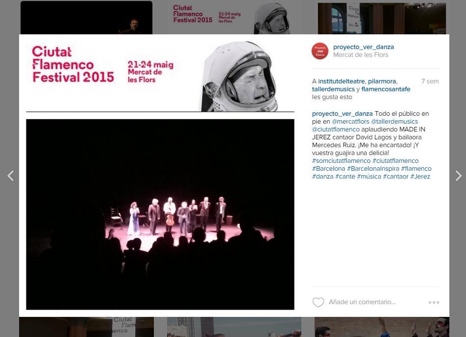 El público del CIUTAT FLAMENCO 2015 en pie aplaudiendo a David Lagos, Mercedes Ruiz por MADE IN JEREZ en el Mercat de les Flors, Barcelona
