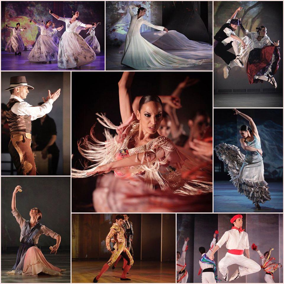 Collage con imágenes de diferentes escenas del ballet SOROLLA del BNE. Collage publicado en el Facebook del BNE