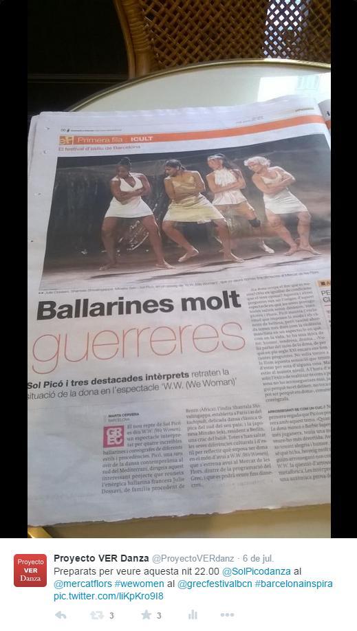 Artículo en EL PERIÓDICO sobre Sol Picó y sus bailarinas muy guerreras el día del estreno de W W We Women en el Mercat de les Flors dentro del GREC 2015
