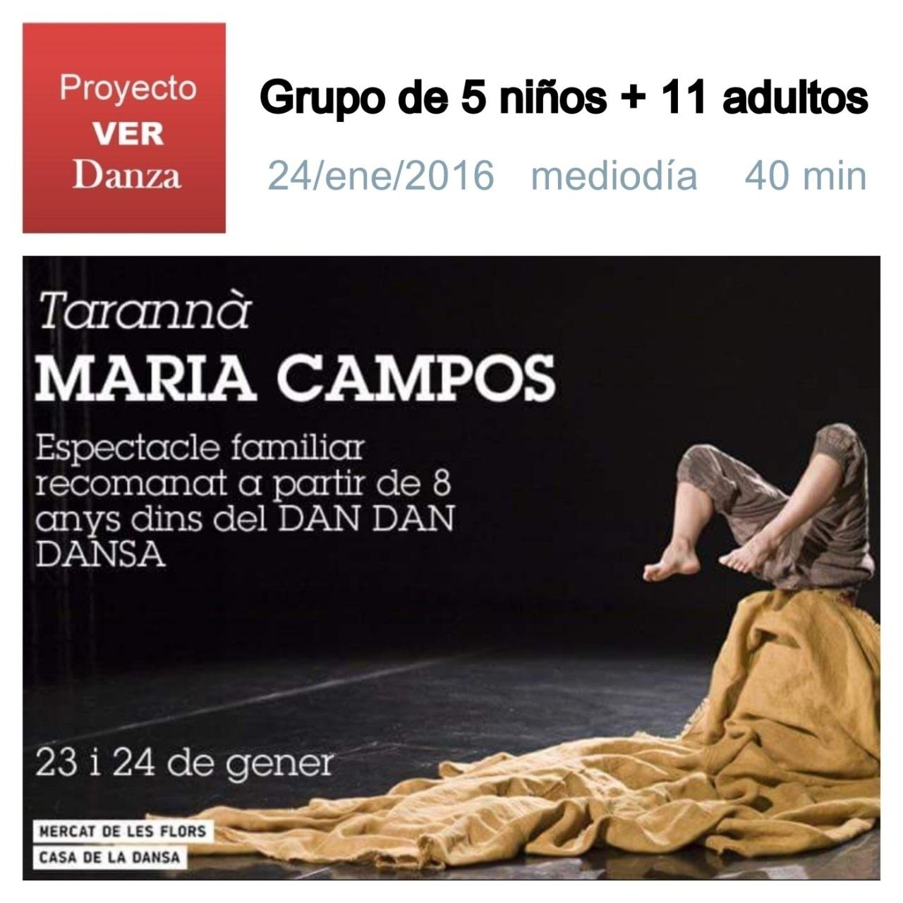 grupo de 16 vimos TARANNA de Maria Campos en el Mercat de les Flors