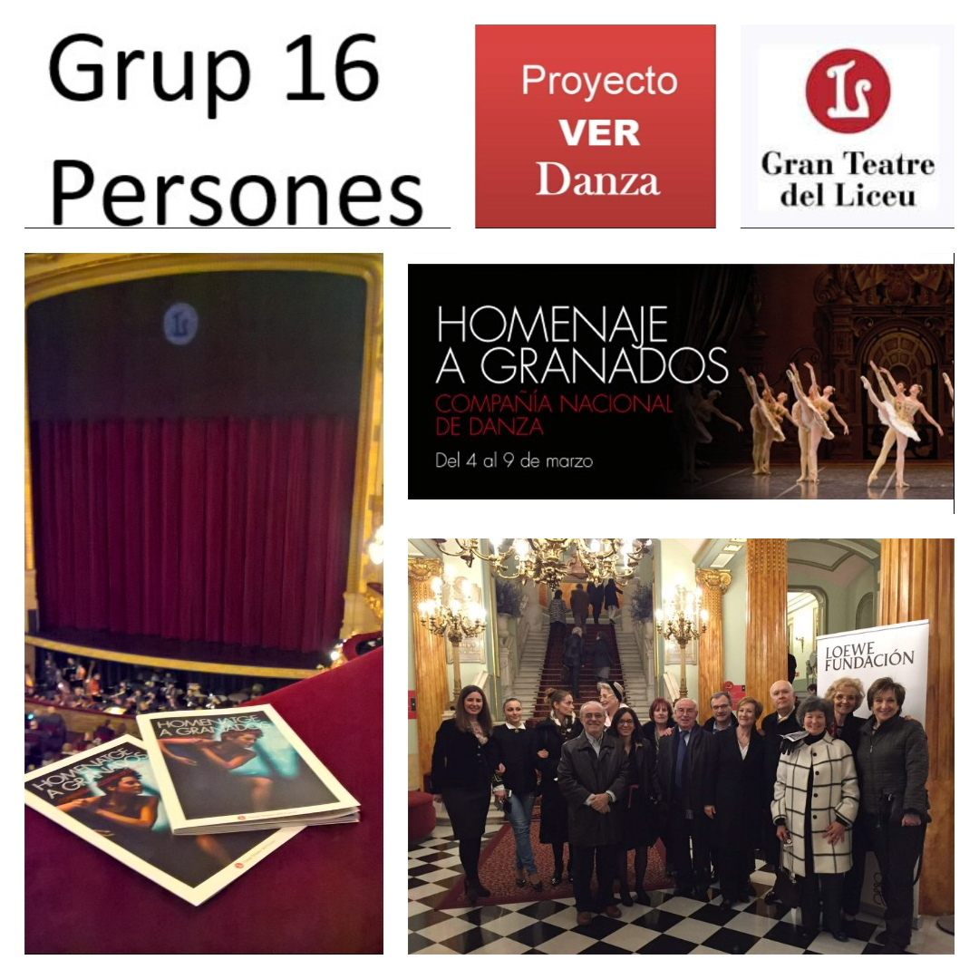 Proyecto VER Danza desembarcó de nuevo en marzo en el Teatre del Liceu con un grupo de 16 para ver la danza y ballet HOMENAJE A GRANADOS de la Compañía Nacional de Danza. Nosencantó.