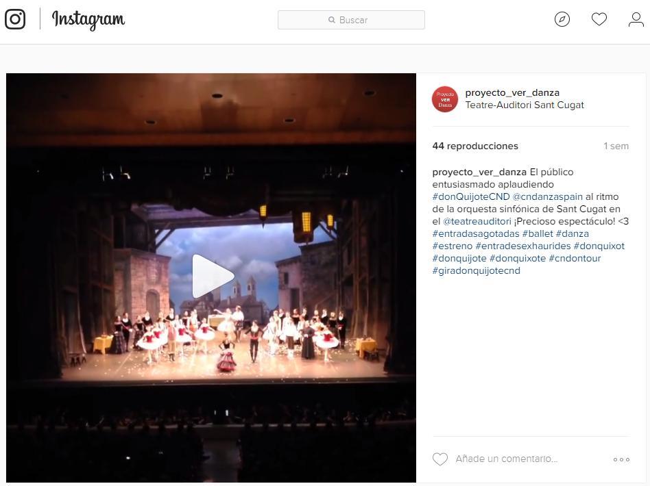 Vídeo aplausos en el TEATRE AUDITORI SANT CUGAT a la CND por su DON QUIJOTE 28 de mayo del 2016