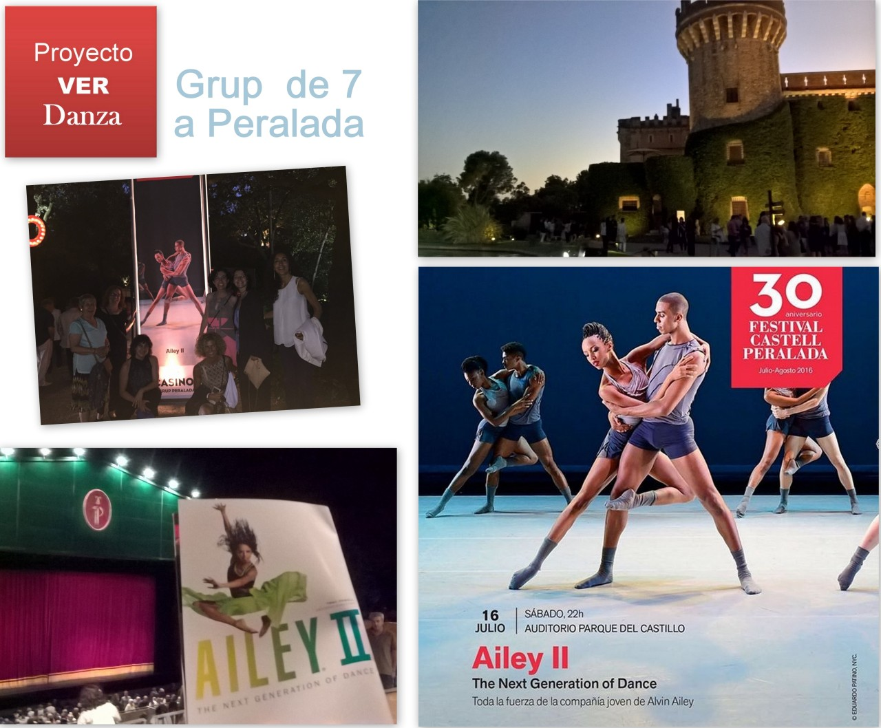 Collage_Grup de 7 a Festival Castell de Peralada per veure dansa AILEY II