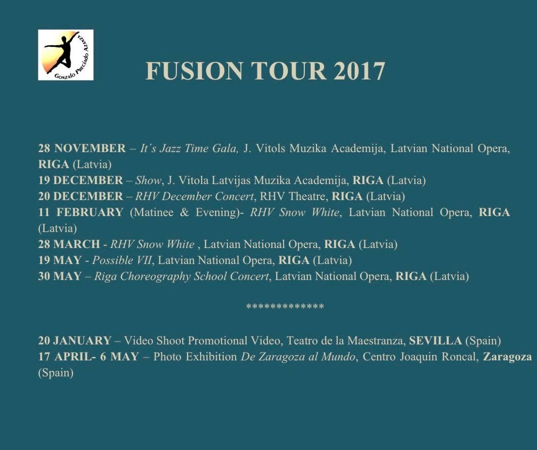 Gonzalo Preciado Azanza FUSION TOUR 2017 calendario