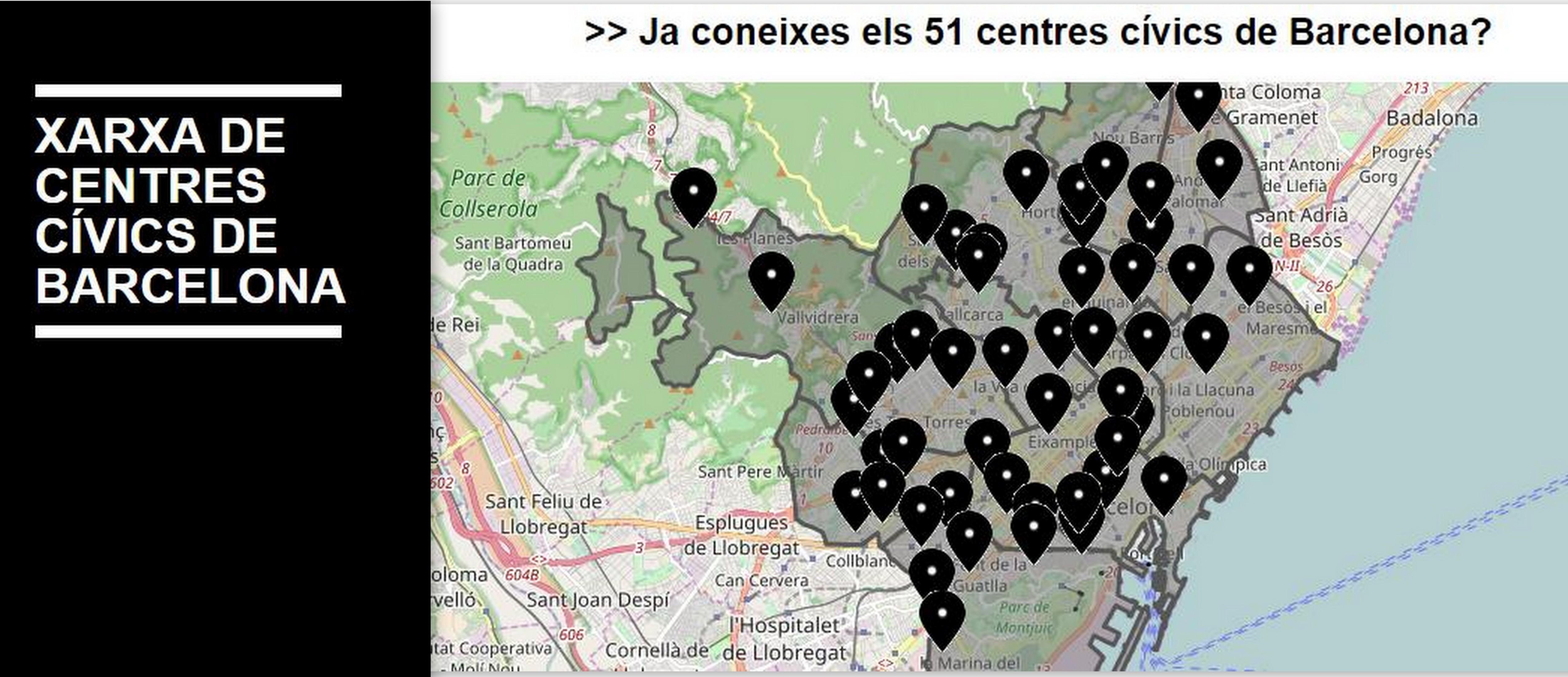 Collage Xarxa CC BCN i mapa 51 Centres Civics
