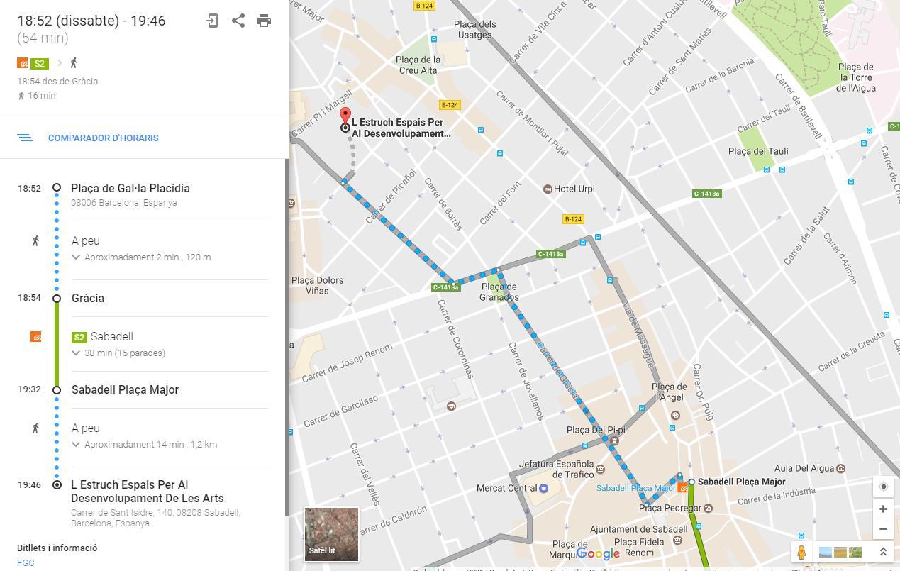 A SWEET HELLO_mapa para llegar en Ferrocarril desde BCN a L ESTRUCH de Sabadell