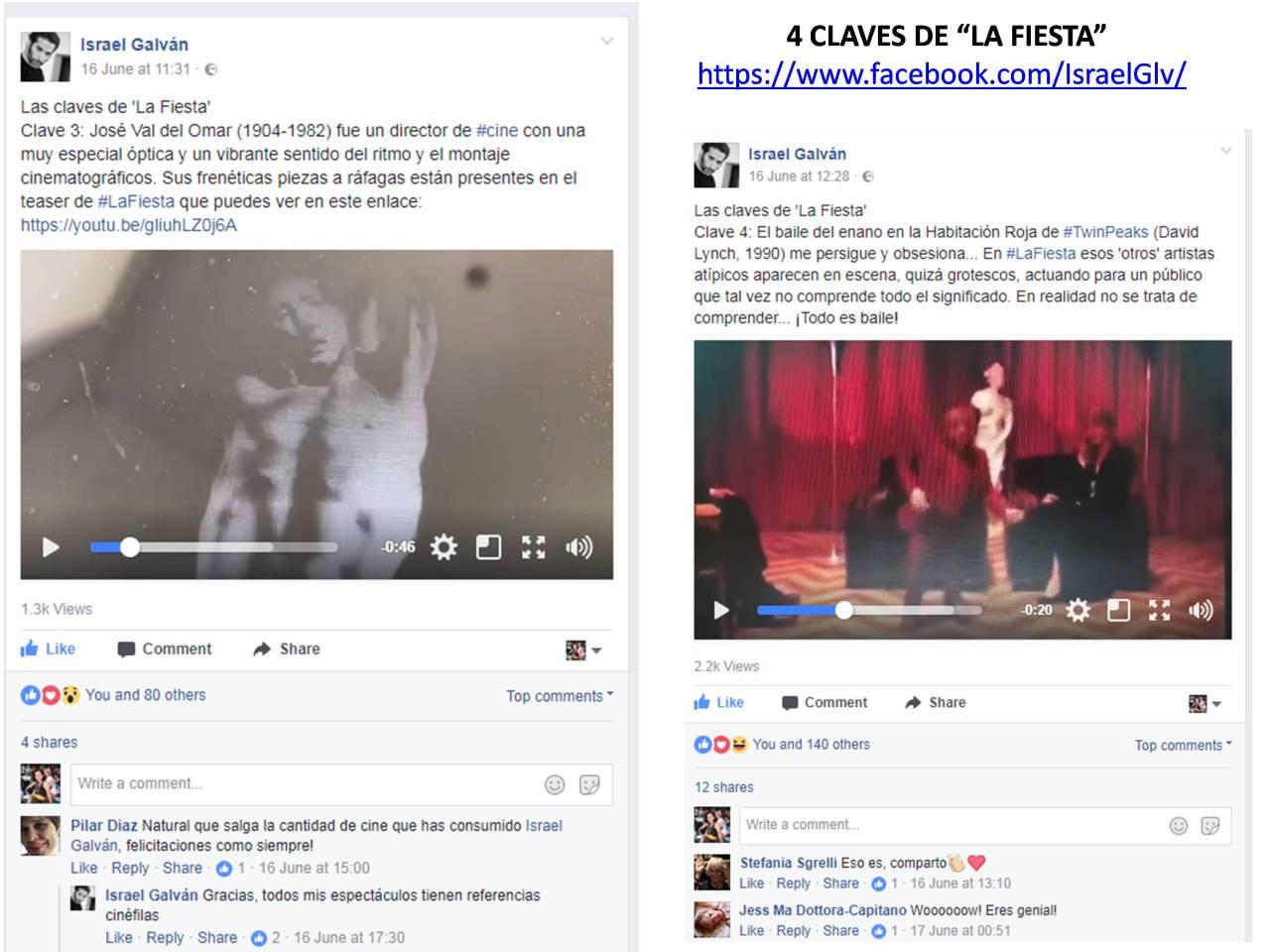"""CLAVES 3 y 4 de """"LA FIESTA"""" de Israel Galván publicadas en su página facebook"""