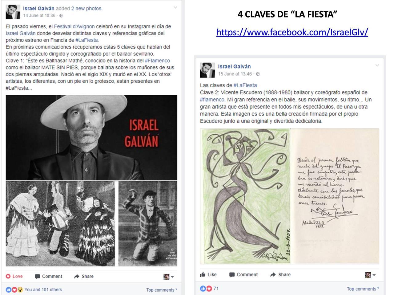"""CLAVES 1 y 2 de """"LA FIESTA"""" de Israel Galván publicadas en su página facebook"""