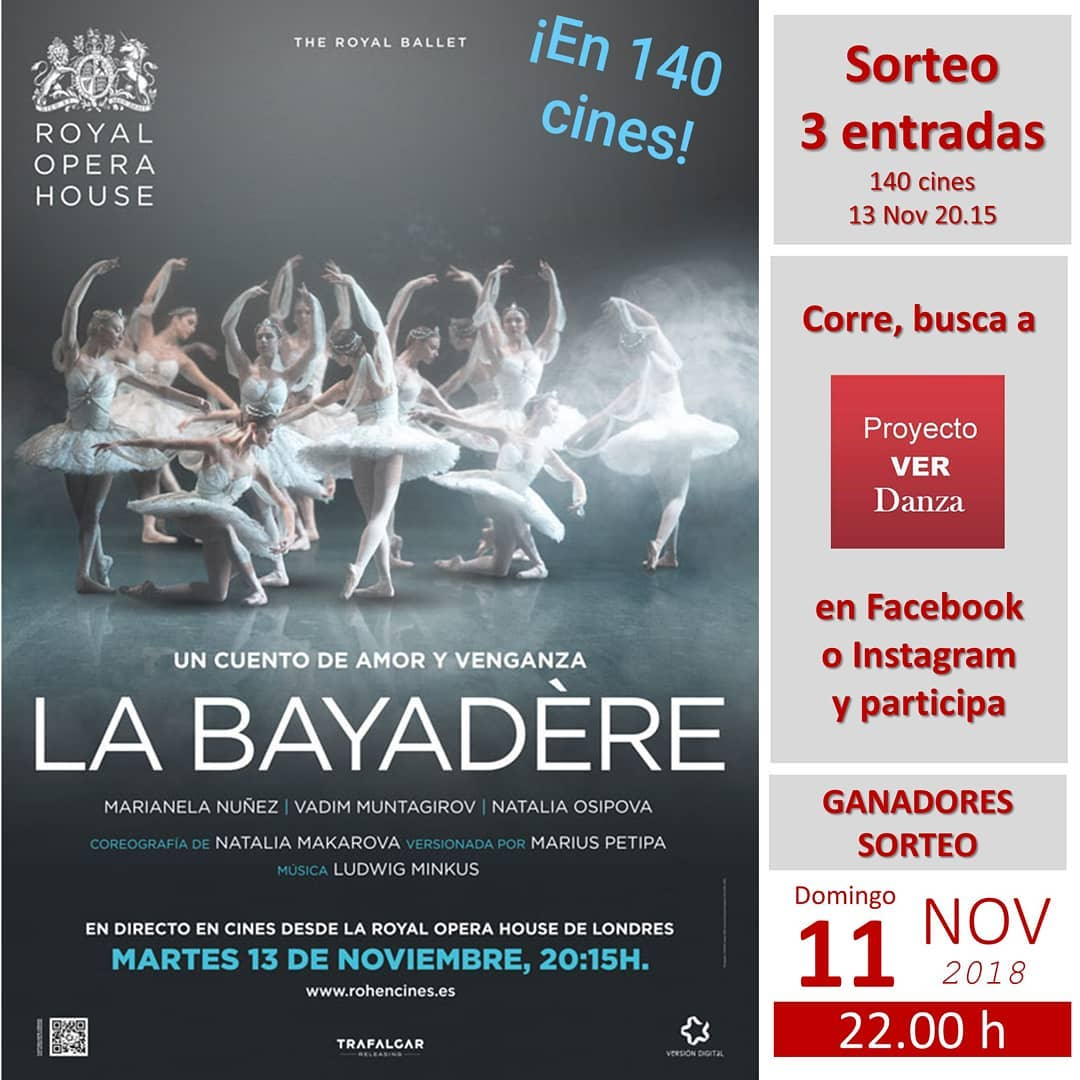 Sorteo Express de 3 entradas para ver el ballet LA BAYADÈRE retransmitido desde Covent Garden el próximo martes 13 Nov en 140 cines y teatros de 100 ciudades enEspaña