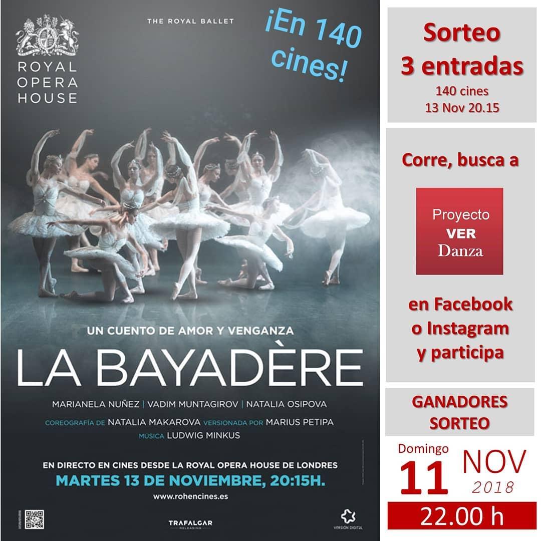 SORTEO LA BAYADERE 140 CINES 13 nov 2018 Proyecto VER Danza